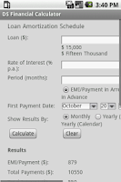 Screenshot of Android Financial Calculator