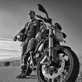 Leo by George Petridis - People Portraits of Men ( highway, black and white, biker, street, ducati, motorcycle )