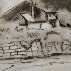 Mountain Home by Matt Dittsworth - Drawing All Drawing ( pencil, home, charcoal, mountain, black and white, house, black )