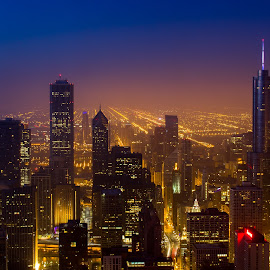 Chicago Sunrise by Mike Martin - City,  Street & Park  Skylines ( skyline, blue hour, 360chicago, sunrise, chicago, cityscape, chitecture, john hancock, serenity, blue, mood, factory, charity, autism, light, awareness, lighting, bulbs, LIUB, april 2nd )