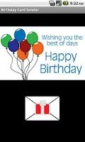 Screenshot of Birthday Card Sender