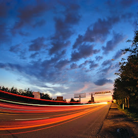 Drum Bun! by Panfil Pirvulescu - Landscapes Travel ( clouds, ora albastra, blue hour, drum bun, romania, road, travel, traffic, light lines, sky, farewell, sunset, summer, long exposure, light )