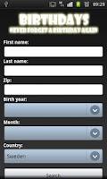 Screenshot of Birthday