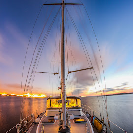 Slow shutter on the ketch by Ryan Despres - Transportation Boats ( canon, water, iso, not nikon, ketch, beautiful, slowshutter, sailboat, fire, boating, lights, gorgeous, florida, sunset, outdoors, summer, sail, long exposure, outside )