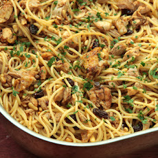 Pasta with Roasted Chicken, Raisins, Pine Nuts, and Parsley Recipe