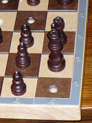 Hadley School adaptive chess board closeup