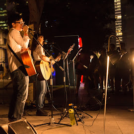 Singing Passion by Reid Tan - People Musicians & Entertainers ( street, sing, night, guitar, people )