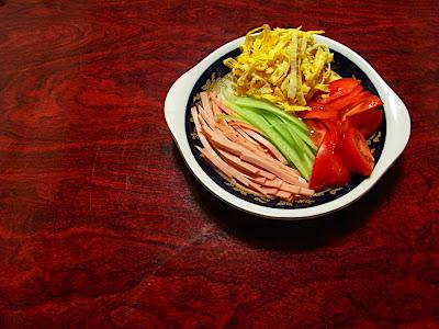 Fideos chinos fríos Hiyashi chuka 冷やし中華 Cold Chinese noodles