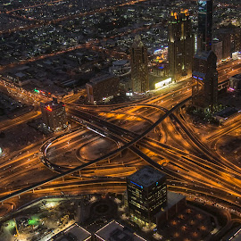 View from Burj Khalifa by Sarita Jithin - City,  Street & Park  Night