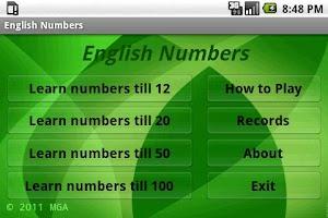 Screenshot of Learn English Numbers