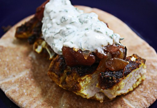 ... Spiced Chicken Breast with Grilled Tomato Jam and Herbed Yogurt Sauce