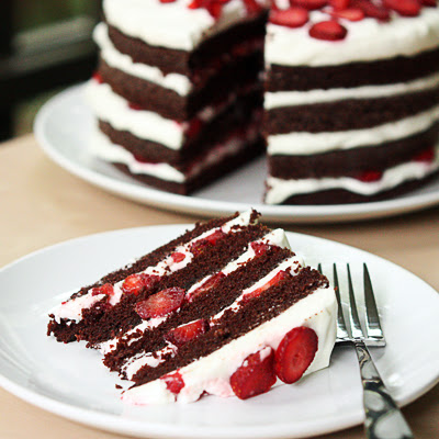 Chocolate Strawberry Cream Cake