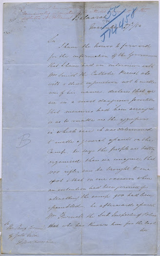 "Father Patrick Smyth found himself in an invidious position, balancing his concern for civic duty with the care of his rebellious flock. Even so, this letter written by Resident Gold Fields Commissioner Robert Rede, dated 27 November 1854, after a discussion with Smyth, seems to curiously and unhelpfully exaggerate the military threat posed by the Ballarat mining community.<a href=""http://wiki.prov.vic.gov.au/index.php/Eureka_Stockade:Rede_warned_by_Father_Smyth_of_attack_on_Camp"">Click here to see more of this record n our wiki.</a>  Rede does, however, accurately forecasts the events that played themselves out later that week."