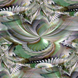 FWLK - Seamless Confusion by Tina Dare - Digital Art Abstract ( abstract, seamless, greens, patterns, designs, distorted, curves, shapes, confusion )