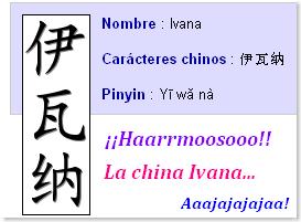 -Ivana- en chino, caligrafía, pronunciación