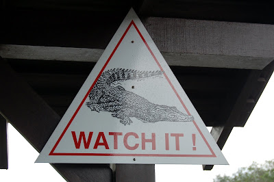Warning sign for crocodiles