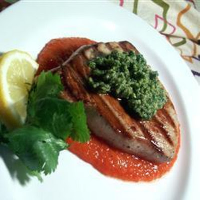 Grilled Mahi Mahi with Coriander Pesto