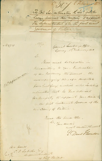 1 February 1851 - Earl Grey advises Queen Victoria to appoint Superintendent La Trobe as Victoria's Lieutenant Governor. Click on the image to read the transcription.