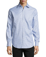 Neiman Marcus Check Woven Sport Shirt, Blue - (SMALL)