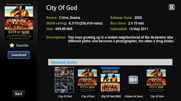 Screenshot of Mitty Torrents for Google TV