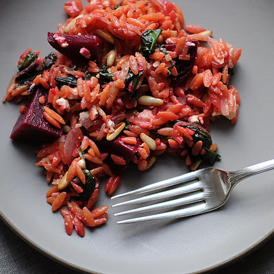 Warm Orzo Salad with Beets & Greens