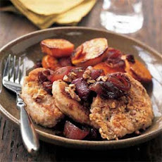 Pecan-Crusted Pork with Red Onion Marmalade and Roasted Sweet Potatoes