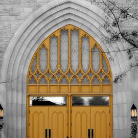 Golden Doors by Luanne Bullard Everden - Buildings & Architecture Architectural Detail ( doors, selective color, churches, architectural detail, architecture )