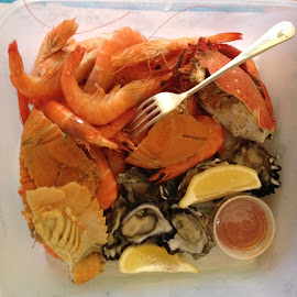 I Love Seafood! by Dawn Simpson - Food & Drink Plated Food ( oysters, fresh, seafood, balmain bugs, lemon, prawns )