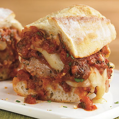 Grilled Meatball Parmesan Hero Recipe — Dishmaps