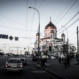 Moscow by Zaki Marican - Buildings & Architecture Other Exteriors ( car, stop, traffic, streetscape, moscow, traffic light, street photography )