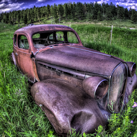 Carfield by Dave Zuhr - Transportation Automobiles ( car, field, rust, d_zuhr, dzuhr, abandoned, , color, colors, landscape, portrait, object, filter forge )