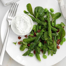 Asparagus, Bean & Bacon Salad With Soft Cheese