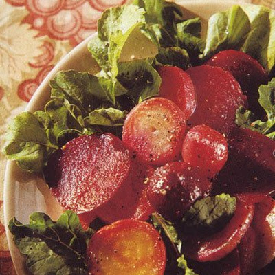 Four Beet Salad on Arugula with Sherry Vinaigrette