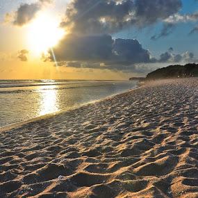 Dawn At Sepanjang Beach by Kwok Sioe Djoen - Landscapes Beaches