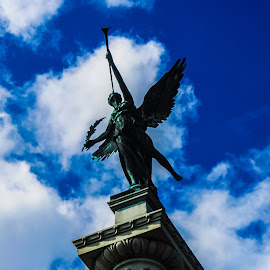 THE ANGELS ARE COMING by Joseph Bailey - Buildings & Architecture Statues & Monuments ( angel, monuments, statue, blue sky, sky, art, artistic, perspective, monument, artistic objects, angels, street photography, Urban, City, Lifestyle )