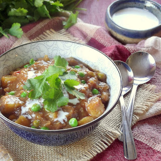 Slow Cooker Indian Curry Potato Soup with Cashew Cream