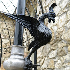 Guarding The Light Pole by Levi Oelrich - Artistic Objects Antiques ( eagle, rod iron, gargoyle, light post, lamp post, iron )