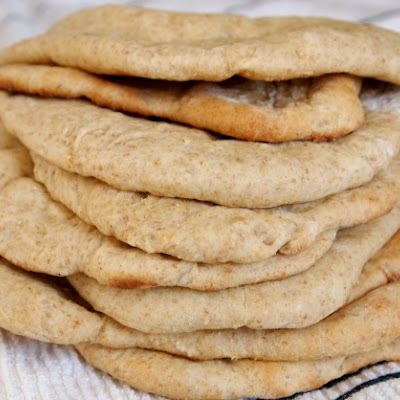 No Knead Whole Wheat Pita Bread