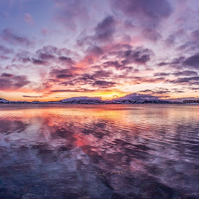 Sunset magic by Benny Høynes - Landscapes Sunsets & Sunrises ( mountains, sunset, sea, lake, norway, colours,  )