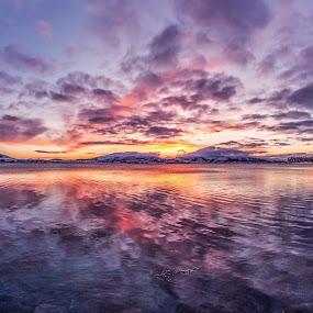 Sunset magic by Benny Høynes - Landscapes Sunsets & Sunrises ( mountains, sunset, sea, lake, norway, colours,  )