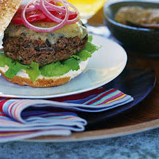 BBQ cheeseburgers in toasted sesame buns