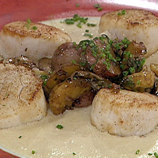 Seared Scallops Served with a Truffled Potato Sauce and Warm Potato Relish