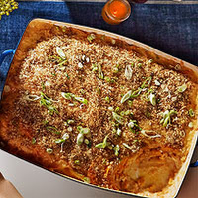 Sweet Potato Gratin with Black Pepper Panko