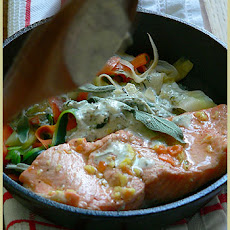 Red Trout and Vegetable Peels with Garlic Cream