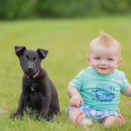 puppy with his favorite human! by Marissa Frederick - Animals - Dogs Puppies ( dogs, puppy, kids, cute )