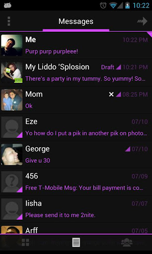 Go SMS Theme Holo Purple ICS