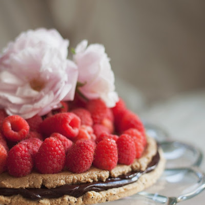 Raspberry Tahini Chocolate Tart w/ Oat Shortbread Crust