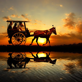 andong bali ngalor by Indra Prihantoro - Digital Art People ( sunset, sunrise, transportation )