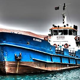 Boat Harbour by Ashley Crookes - Transportation Boats ( water, harbor, hdr, ship, south africa, harbour, sea, ocean, transportation, boat, landscape, digital, sky, blue, transport, robben island, photoshop )