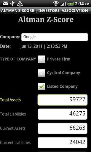 Stock Market Altman Z-Score